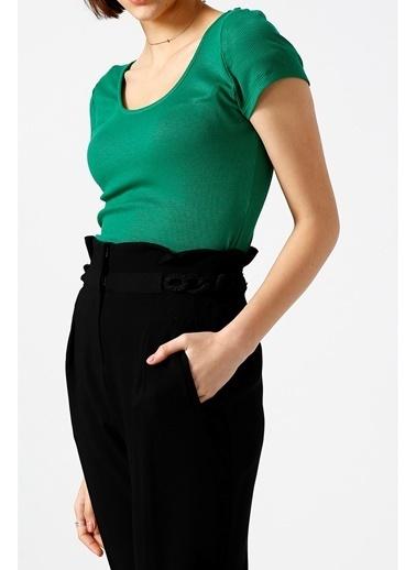 Random Kadın Yuvarlak Yakalı Kısa Kollu Basic Bluz Yeşil